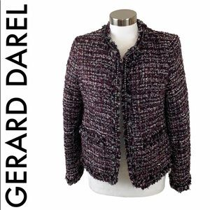 GERARD DAREL PURPLE BLACK SILVER TWEED BLAZER 8